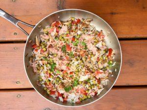 Petits pois au riz, tomate, champignons et jambon pour Super Boîte à Lunch