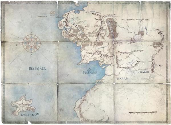 Mapa de la Segunda Edad de la Tierra Media