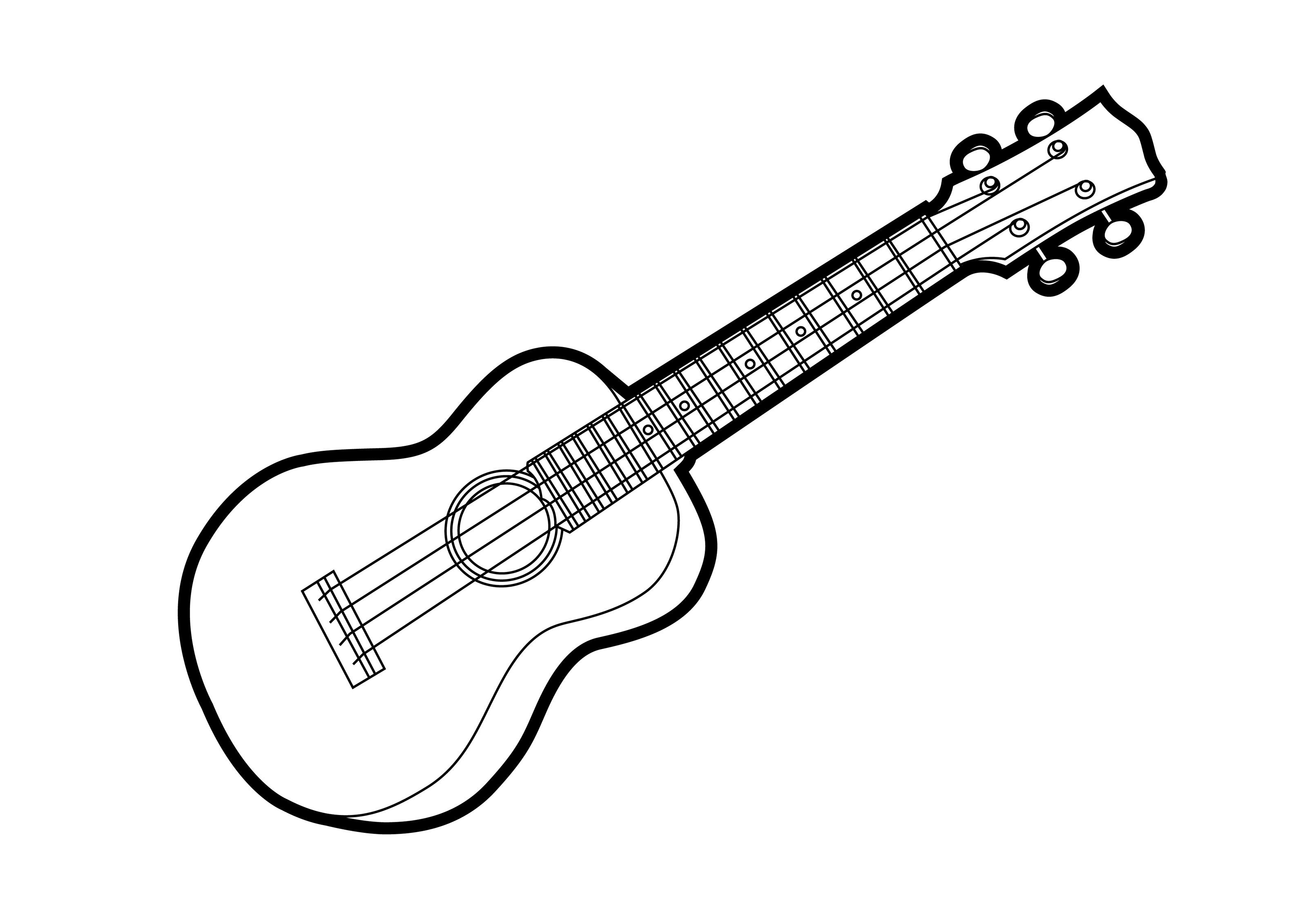Ukulele Outline Vector Illustration
