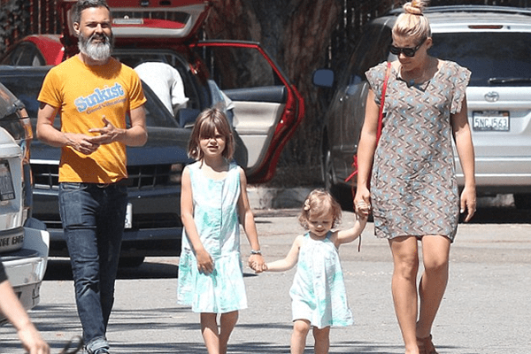Busy Philipps enjoyed a playdate in the park with her husband Marc Silverstein and daughters Birdie (L) and Cricket (R) in Los Angeles