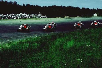 Ten top pros on our 1986 Ninjas at one of the school's Challenge races held at the old Loudon, NH track.