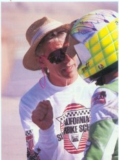 Scott Russell getting trained by Keith in 1991. Russell went on to win the US and World Superbike titles.