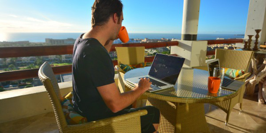 Sam setting up the new account from his airbnb in Cabo