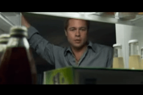"2005 Heineken Super Bowl Ad Brad Pitt makes a Beer Run and Paparazzi follows. Rolling Stones ""Gimme Shelter"" is music."