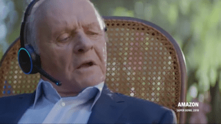 Sir Anthony Hopkins apperas in an Amazon Alexa 2018 Super Bowl Ad