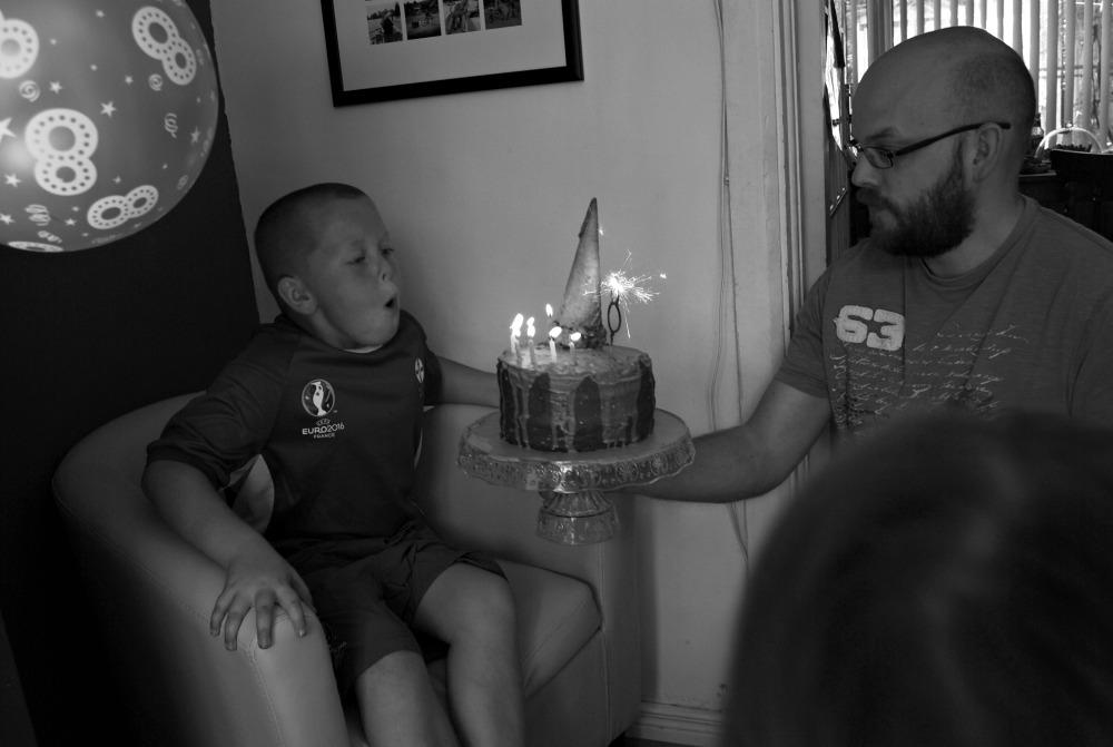celebrations cake and turning eight