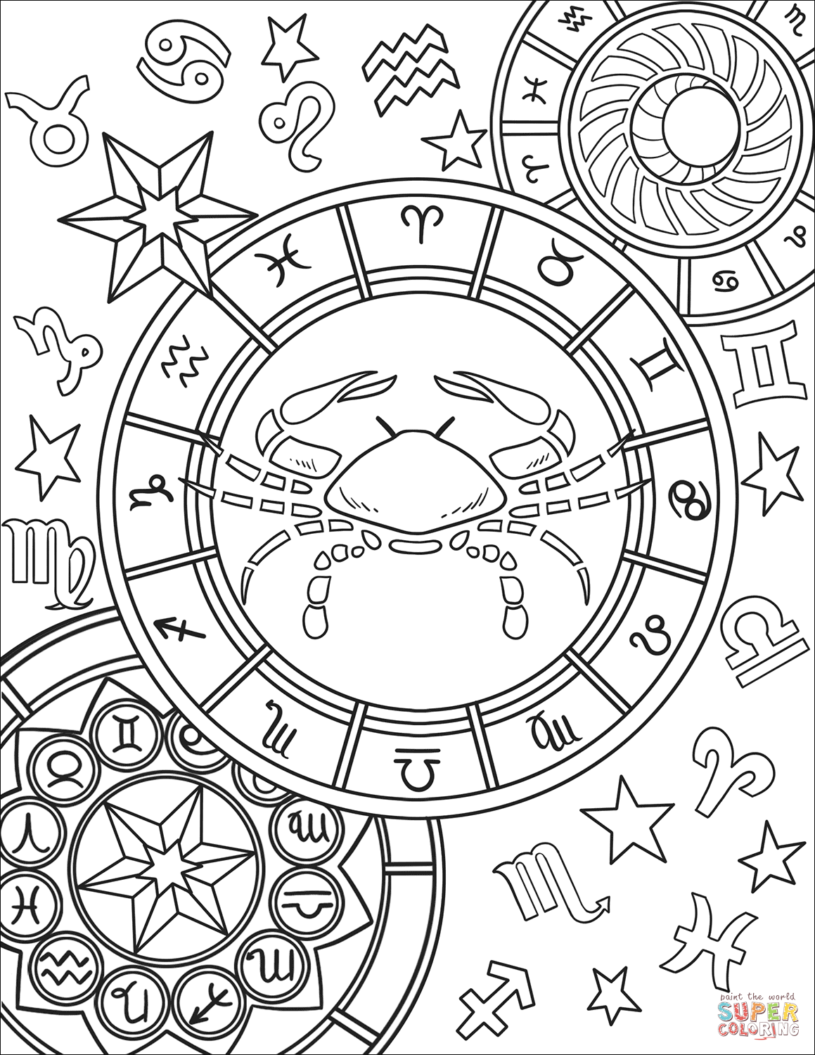 Cancer Zodiac Sign Coloring Page