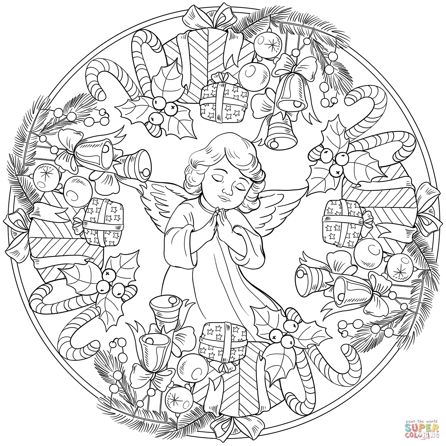Mandala Christmas Coloring Pages Free Novocom Top