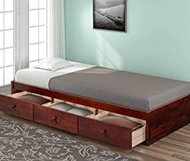 Haper Bright Designs Twin Size Platform Storage Bed With  Drawers Brown Cherry