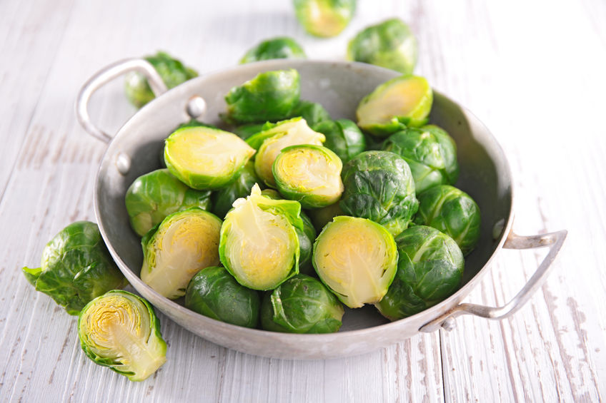 Photo of a bowl of Brussels sprouts.