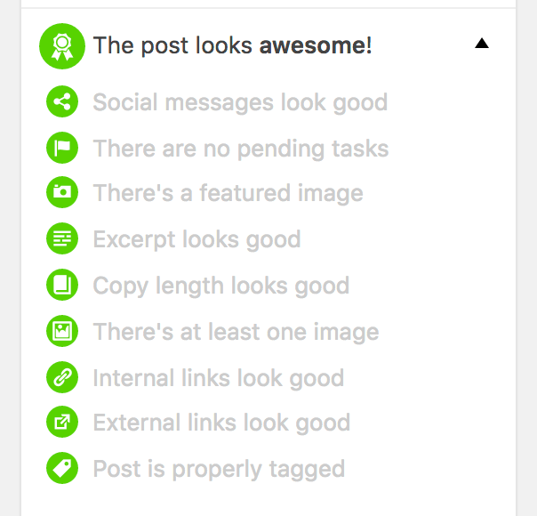 "Screenshot showing the quality-control feature of Nelio Content. It has phrases like ""The post looks awesome!"" and ""Social messages look good"" and ""There are no pending tasks"" and so on."