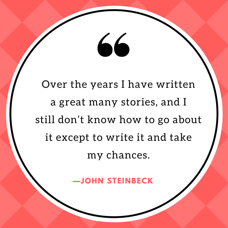 """Image of quote that says,"""" Over the years I have written a great many stories, and I still don't know how to go about it except to write it and take my chances."""" Quote by John Steinbeck."""