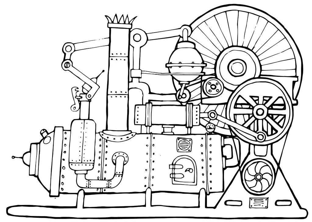 Black-and-white drawing of an old steam engine with lots of belts, pulleys, bolts, and pipes.