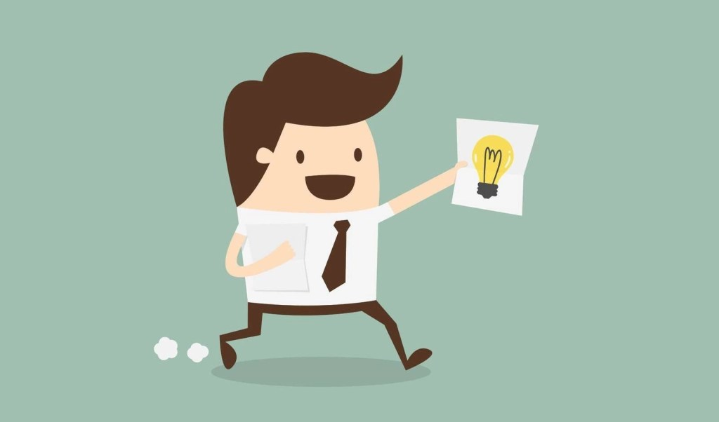 Illustration of a cartoon man with brown hair, brown tie, and brown pants running while holding a sheet of paper with a lightbulb on it, to illustrate the idea of someone with a great new idea.