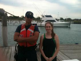 with the Coast Guard after a jetskiing adventure in Detroit the weekend of the Electronic Music festival (May)