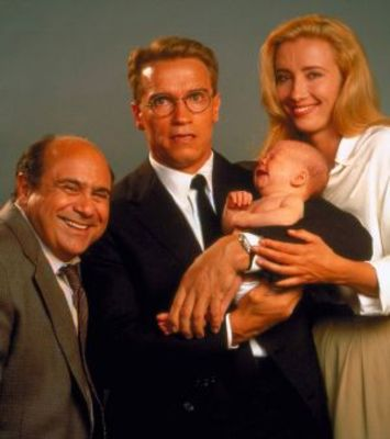 Arnold Schwarzenegger as Dr. Alex Hesse, Danny DeVito as Dr. Larry Arbogast, Emma Thompson as Dr. Diana Reddin, and Baby as Dr. Diaper von Poops-a-Lot