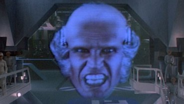 Grr! I'm the bad guy! And I made this long-distance hologram phone call collect! GRRR!