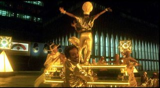 The Wiz's soundtrack composer, Charlie Smalls, makes a cameo playing this massive golden piano in the Emerald City.