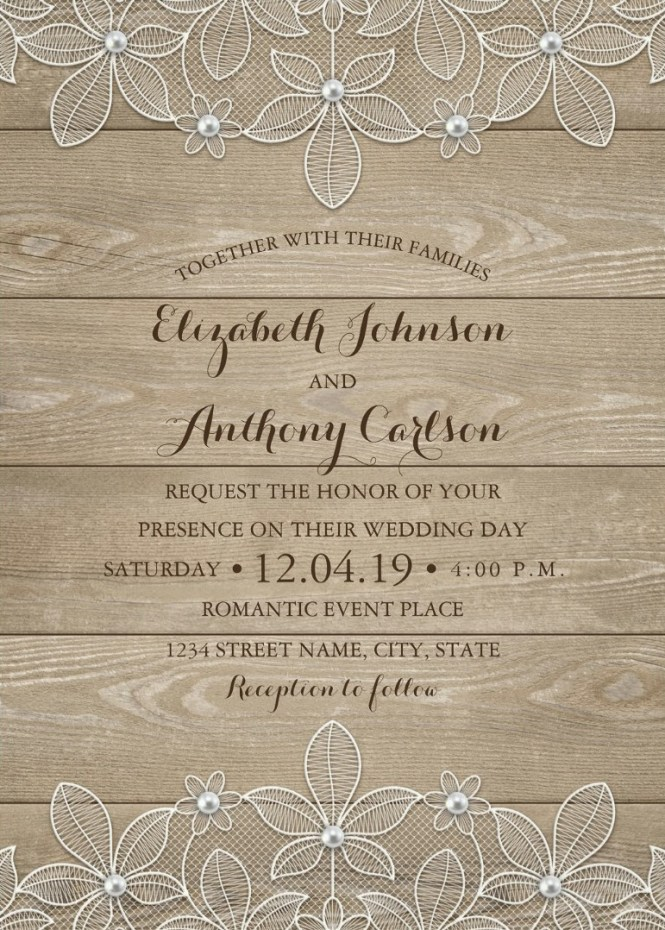 Rustic Wood Lace Wedding Invitations Elegant Vintage