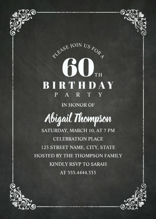 chalkboard adult 60th birthday party