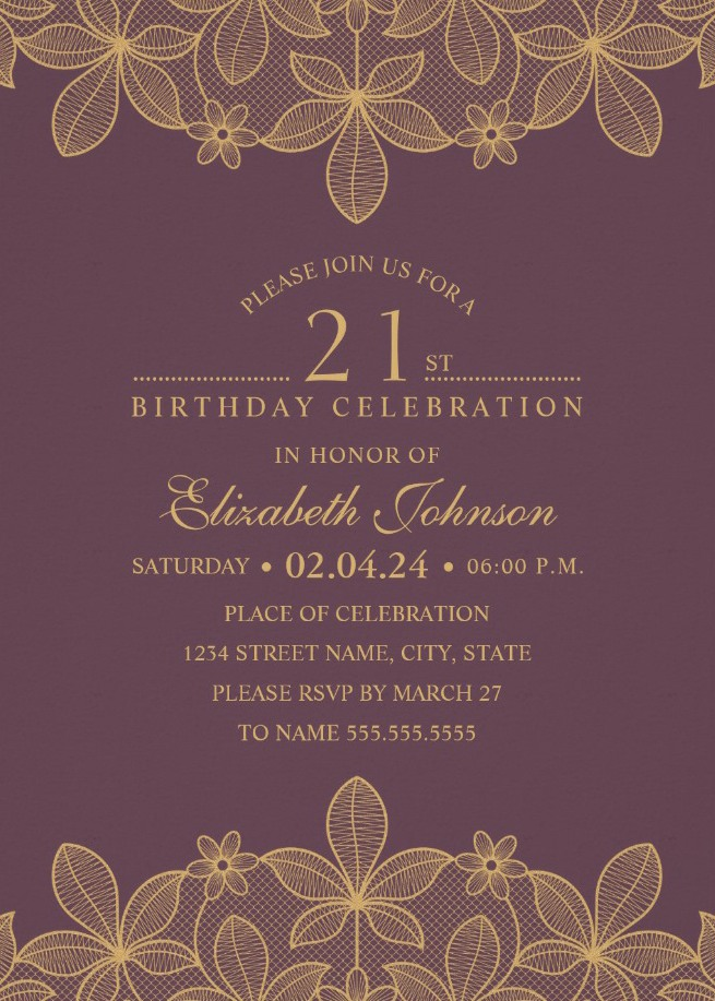 Lace Wine Red 21st Birthday Invitations