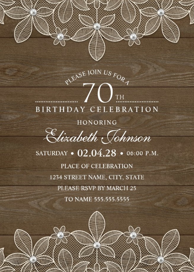 country wood 70th birthday invitations