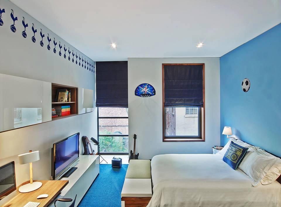 albastru in dormitoare mici