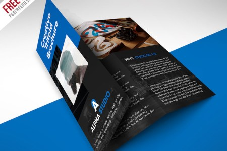 25 Tri fold Brochure Templates   PSD  AI   INDD  Free   Premium     Creative Agency Trifold Brochure PSD Template  Free