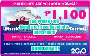 2Go Promo P1,100: To and From Manila to Bacolod and Dumaguete