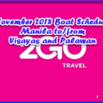 Boat Schedule Manila to Visayas and Palawan: 2Go November 2018
