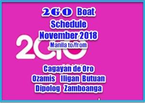 Boat Schedule 2Go Mindanao Routes for November 2018