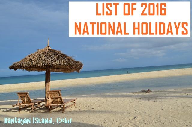 2016 Philippine National Holidays