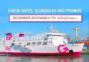 2Go December 2015 Schedule and Promo for Manila to Ilo-ilo v.v.