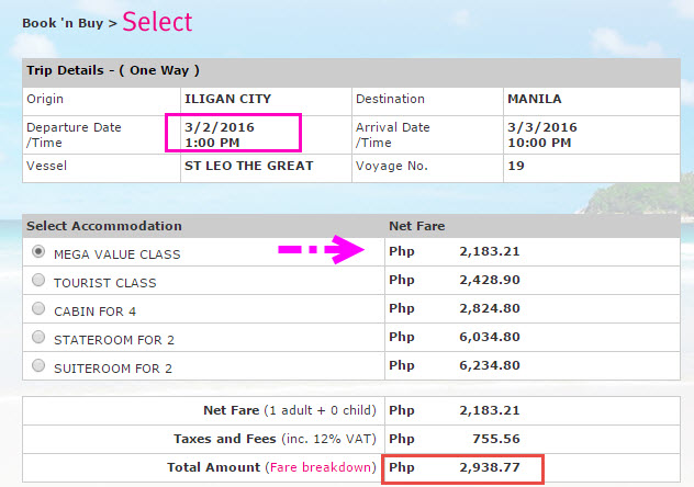Superferry March 2016 Ticket Price