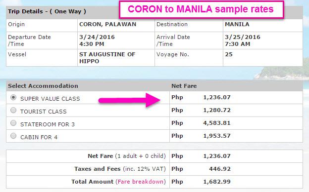 2Go Coron to Manila promo rates 2016