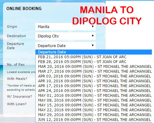 2Go Travel Schedule Manila to Dipolog City March April May June