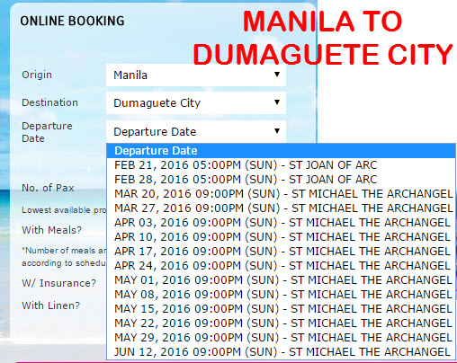 2Go Travel Schedule Manila to Dumaguete City March April May June