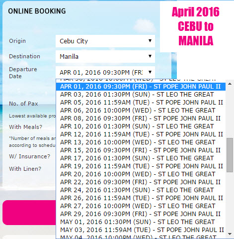 Cebu to Manila 2Go April 2016 Schedule