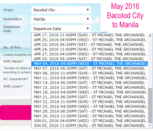 Superferry May 2016 Bacolod to Manila Schedule