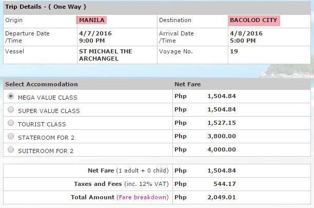 2Go Ticket price Manila to Bacolod