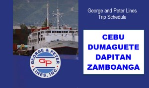 George and Peter Lines Schedules for Cebu Dumaguete Dapitan Zamboanga