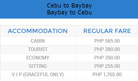 Roble Shipping Ticket Rate Cebu to Baybay