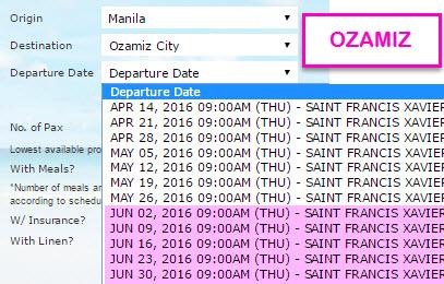 2GO Manila to Ozamiz Schedule