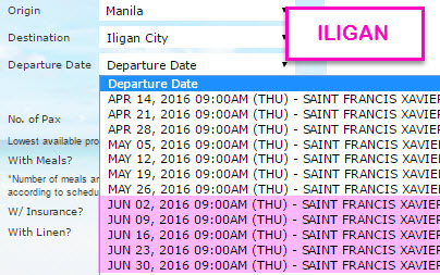 2Go Manila to Iligan June 2016 Schedule