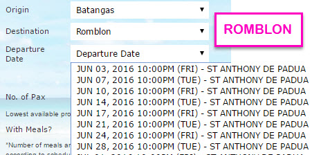 2Go Schedule to Romblon