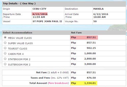2Go Ticket Price Cebu to Manila