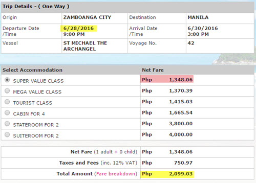 Ticket Price 2Go zamboanga to manila