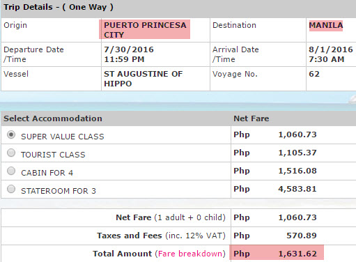 Palawan to Manila 2Go Ticket Price