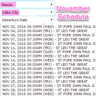 2Go Schedule Manila to Cebu November