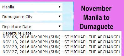 2Go November Manila to Dumaguete Trip Schedule